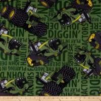 John Deere Fleece Tractors On Text Green