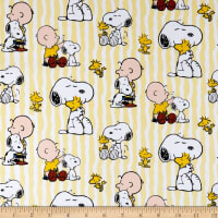 United Media Peanuts Everyday Cotton Snoopy Stripe Yellow