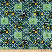 John Deere Everyday Cotton Diagonal Plaid Blue
