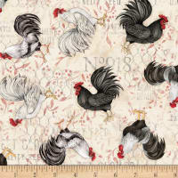Susan Winget Farmhouse Rooster Rooster Toss Poplin Cream
