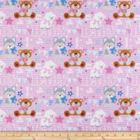 Fox/Sheep/Bear Plaid Pink Flannel