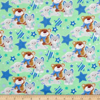 Fox/Sheep/Bear Flannel Allover Green