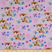 Fox/Sheep/Bear Flannel Allover Pink