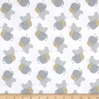 Elephant/Mouse Flannel Tossed Elephants Grey