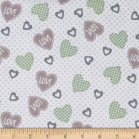 Elephant/Mouse Flannel Hearts Grey