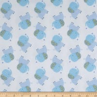 Elephant/Mouse Flannel Tossed Elephants Blue