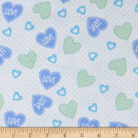 Elephant/Mouse Flannel Hearts Blue