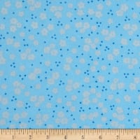Elephant/Mouse Flannel Small Flowers Blue
