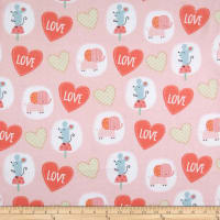 Elephant/Mouse Flannel Animals & Hearts Coral