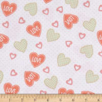 Elephant/Mouse Flannel Hearts Coral