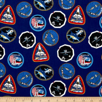Riley Blake Out Of This World With NASA Patches Blue
