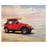 "Riley Blake Lisc Collections-Jeep In The Wild Red 36"" Panel"