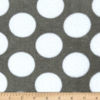 Plush Coral Fleece Grey Matters Polka Dots Grey