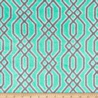 Plush Coral Fleece Fretwork Grey on Mint