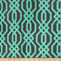 Plush Coral Fleece Fretwork Mint on Grey