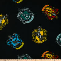 Harry Potter House Crests Tossed Fleece Black