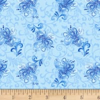 Henry Glass Blue Dream Small Tossed Floral Blue