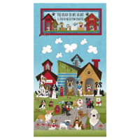 """Henry Glass Home Is Where The Dog Is 24"""" Dog Banner Panel Blue"""