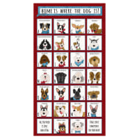 "Henry Glass Home Is Where The Dog Is 24"" Dog Breed Alphabet Panel Red"