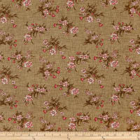 Henry Glass Tickled Pink Vintage Floral Toss Khaki