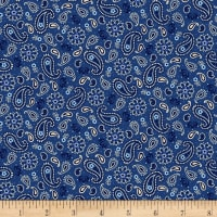 Henry Glass America The Beautiful Mini Paisley Blue