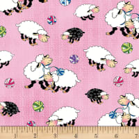 Henry Glass Knit Chicks Sheep Allover Pink