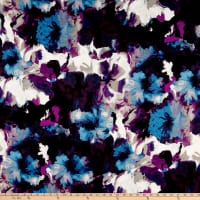 Ottoman Suiting Large Watercolor Floral Grape/Black/Primary Blue