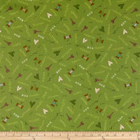 Henry Glass Home Sewn Scattered Sewing Words Green