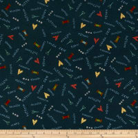 Henry Glass Home Sewn Scattered Sewing Words Navy