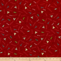 Henry Glass Home Sewn Scattered Sewing Words Red