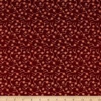 Henry Glass Home Sewn Daisy Stitches Red