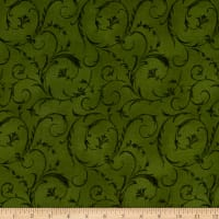 "Maywood Studio 108"" Beautiful Backing Elegant Scroll Forest Green"