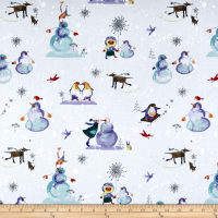 Clothworks Winter Love Toile Mist Gray