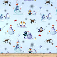 Clothworks Winter Love Toile Light Blue