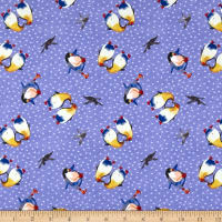 Clothworks Winter Love Toss Periwinkle