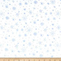 Clothworks Winter Love Snowflakes White