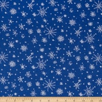 Clothworks Winter Love Snowflakes Light Royal Blue