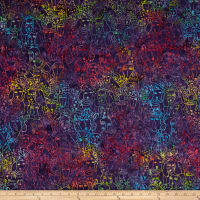 Clothworks Batik Menagerie Dogs Toss Multi Color