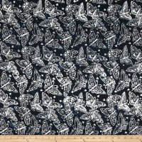 Clothworks Batik Menagerie Butterflies Toss Black