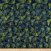 Clothworks Batik Menagerie Butterflies Toss Dark Navy