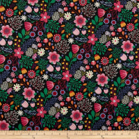 Clothworks Good Things Will Come Flower Burst Raspberry