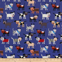 Clothworks Playful Pups Dogs Royal Blue