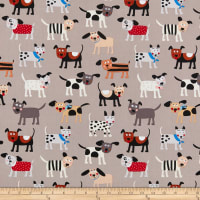 Clothworks Playful Pups Dogs Taupe