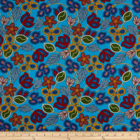 Beaded Print Flowers Turquoise