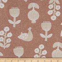 Cosmo Hummingbird II Cotton/Linen Canvas Birds And Flowers Toss Dark Beige
