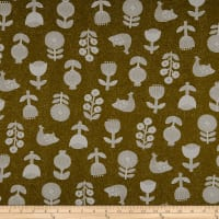 Cosmo Hummingbird II Cotton/Linen Birds And Flowers Toss Dark Yellow
