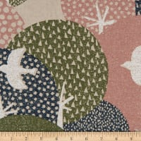Cosmo Hummingbird II Cotton/Linen Canvas Aerial Birds Dark Beige