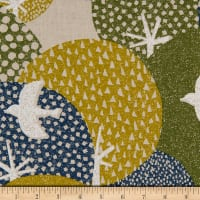 Cosmo Hummingbird II Cotton/Linen Canvas Aerial Birds Green
