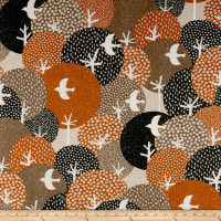 Cosmo Hummingbird II Cotton/Linen Aerial Birds Brown