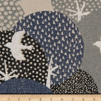 Cosmo Hummingbird II Cotton/Linen Canvas Aerial Birds Grey